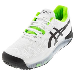 Men`s GEL-Resolution 8 Wide Tennis Shoes White and Green Gecko