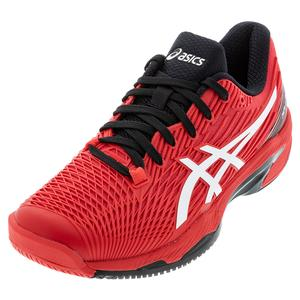 Men`s Solution Speed FF 2 Tennis Shoes Electric Red and White