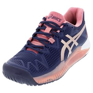 Women`s GEL-Resolution 8 Tennis Shoes Peacoat and Rose Gold