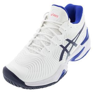 Women`s Court FF 2 Tennis Shoes White and Lapis Lazuli Blue