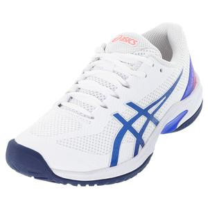 Women`s Court Speed FF Tennis Shoes White and Lapis Lazuli Blue