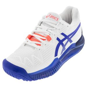 Women`s GEL-Resolution 8 Wide Tennis Shoes White and Lapis Lazuli Blue