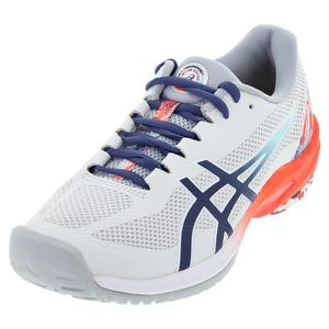 Men`s Court Speed FF Tennis Shoes Glacier Grey and Sunrise Red