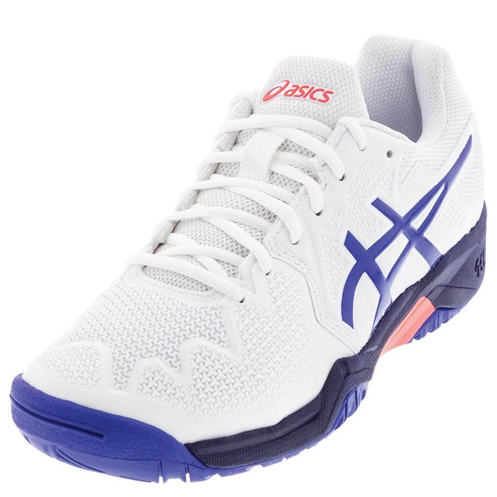 Juniors ` Gel- Resolution 8 Gs Tennis Shoes White And Lapis Lazuli Blue