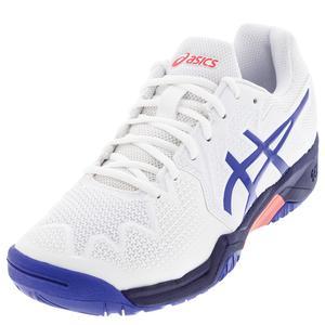Juniors` GEL-Resolution 8 GS Tennis Shoes White and Lapis Lazuli Blue