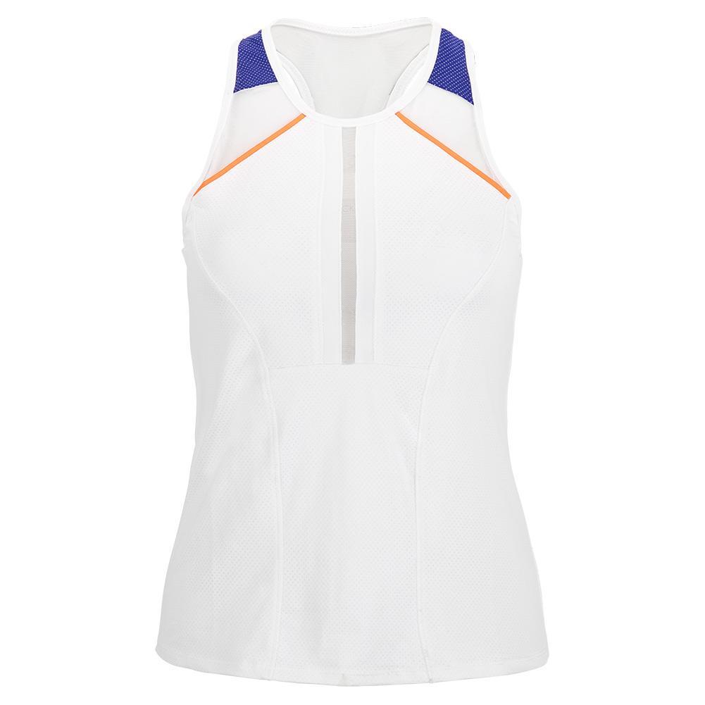 Women's Be Mine Racerback Tennis Tank White And Cobalt
