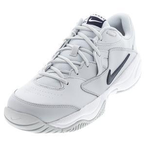 Men`s Court Lite 2 Tennis Shoes Pure Platinum and Obsidian
