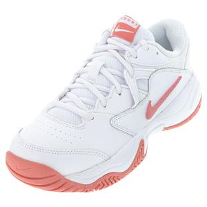 Women`s Court Lite 2 Tennis Shoes White and Pink Salt