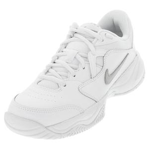 Juniors` Court Lite 2 Tennis Shoes White and Metallic Silver