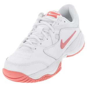 Juniors` Court Lite 2 Tennis Shoes White and Pink Salt