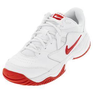 Juniors` Court Lite 2 Tennis Shoes White and University Red