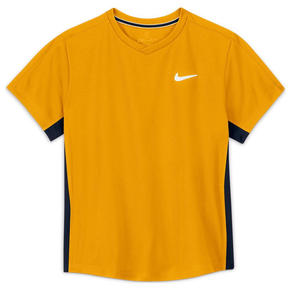 Boys ` Court Dri- Fit Victory Short Sleeve Tennis Top University Gold And Obsidian