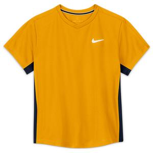 Boys` Court Dri-FIT Victory Short Sleeve Tennis Top University Gold and Obsidian