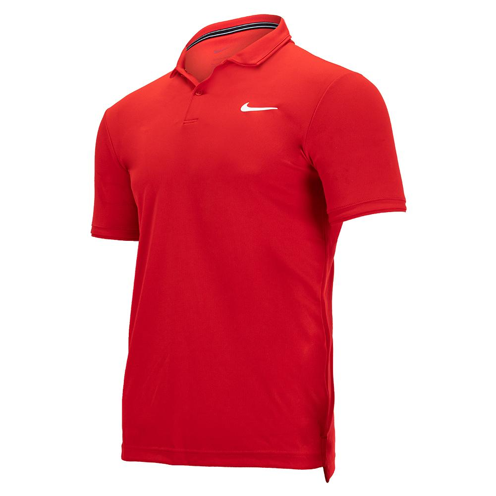 Men's Court Dri- Fit Victory Tennis Polo University Red And White