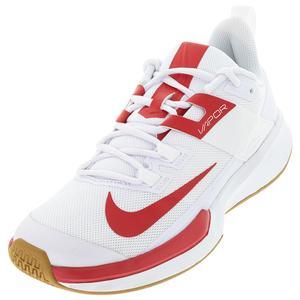 Men`s Vapor Lite Tennis Shoes White and University Red