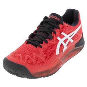 Men`s GEL-Resolution 8 Clay Tennis Shoes Electric Red and White