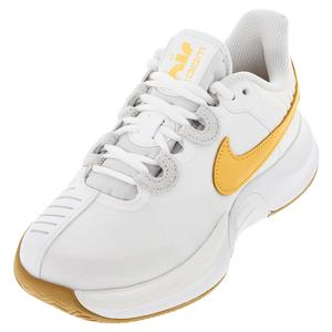 Women`s Court Air Zoom GP Turbo Tennis Shoes Summit White and University Gold
