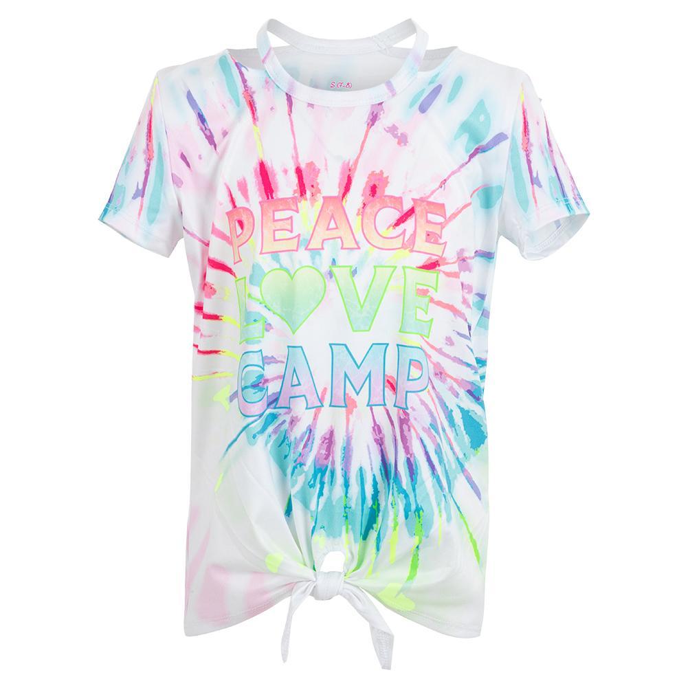 Girls ` Peace N Love Short Sleeve Tennis Top Multicolor