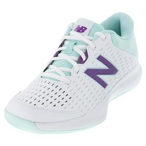 Women`s 696v4 B Width Tennis Shoes White and Mint