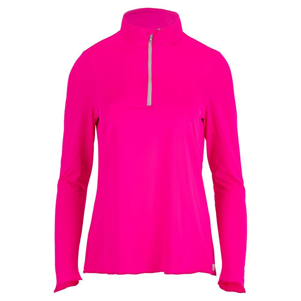 Women's Sun Protector Half Zip Tennis Tunic Hot Pink