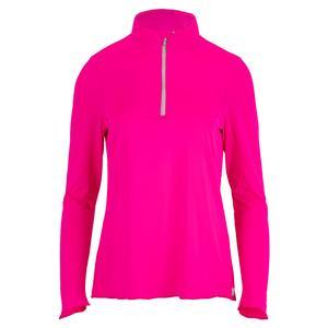 Women`s Sun Protector Half Zip Tennis Tunic Hot Pink