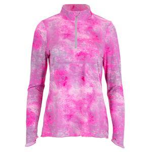 Women`s Sun Protector Half Zip Tennis Tunic Pink Paradise Print