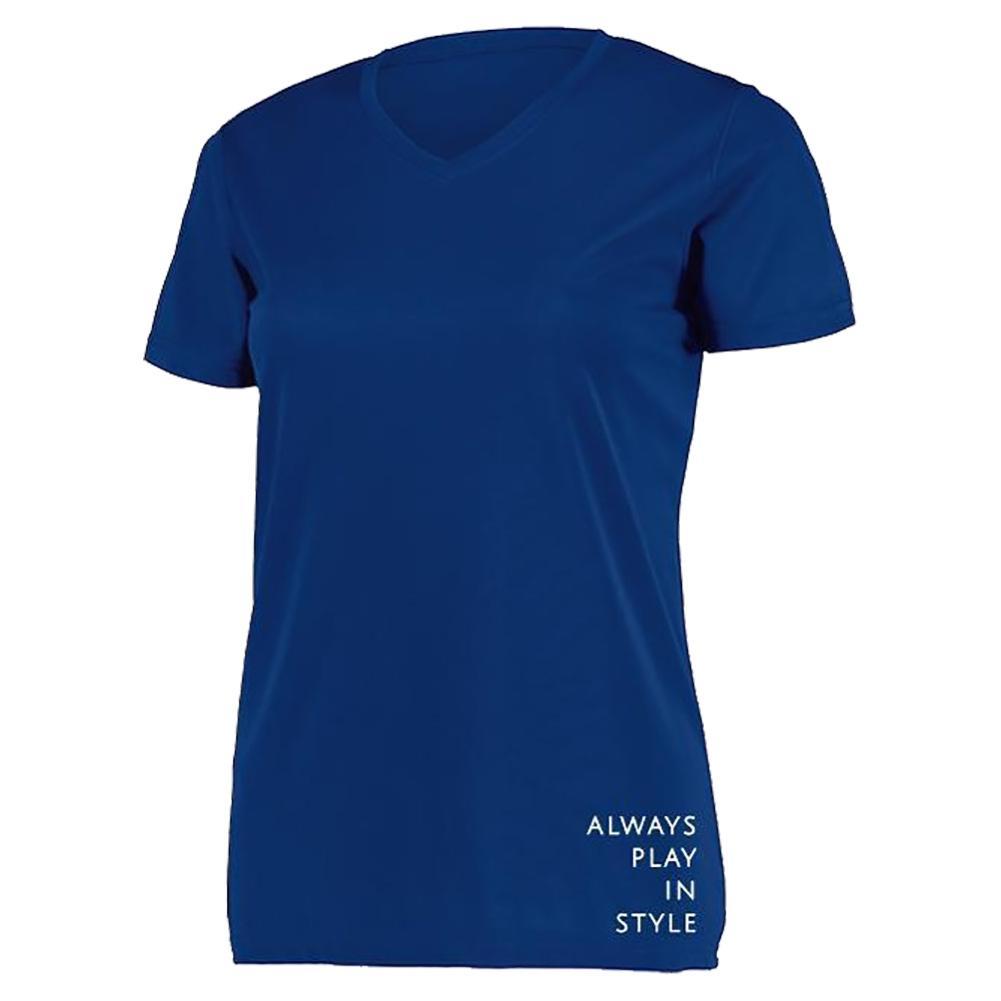 Women's Short Sleeve V- Neck Pickleball T- Shirt Navy Blue