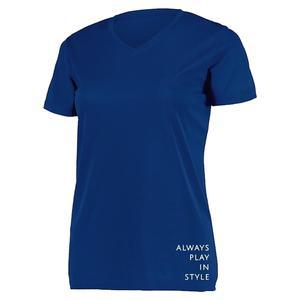 Women`s Short Sleeve V-Neck Pickleball T-Shirt Navy Blue