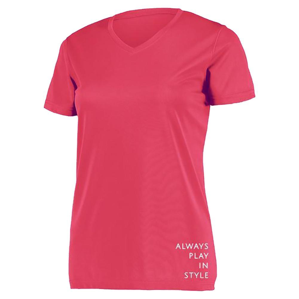 Women's Short Sleeve V- Neck Pickleball T- Shirt Pink