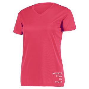 Women`s Short Sleeve V-Neck Pickleball T-Shirt Pink