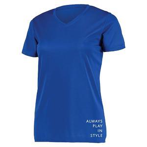 Women`s Short Sleeve V-Neck Pickleball T-Shirt Royal Blue