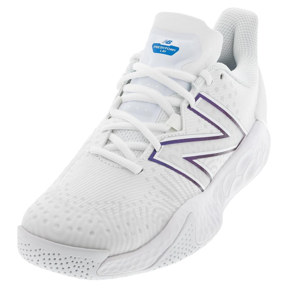 Women's Fresh Foam Lav V2 B Width Tennis Shoes White And Laser Blue