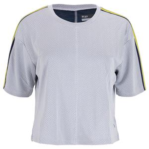 Women`s Loose Tennis Top White and Navy