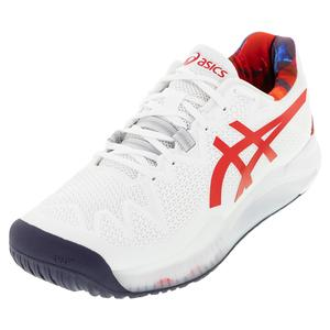 Men`s GEL-Resolution 8 LE Tennis Shoes White and Classic Red