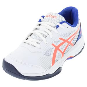 Juniors` GEL-Game 8 GS Tennis Shoes White and Blazing Coral