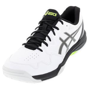 Men`s GEL-Dedicate 7 Tennis Shoes White and Gunmetal