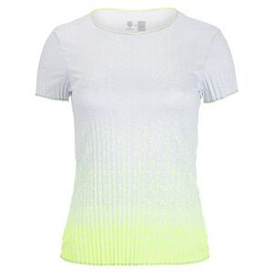 X K-Swiss Women`s Turn Up The Pleat Short Sleeve Tennis Top Neon Yellow
