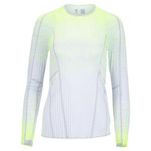 X K-Swiss Women`s Pleat It Up Long Sleeve Tennis Top Neon Yellow