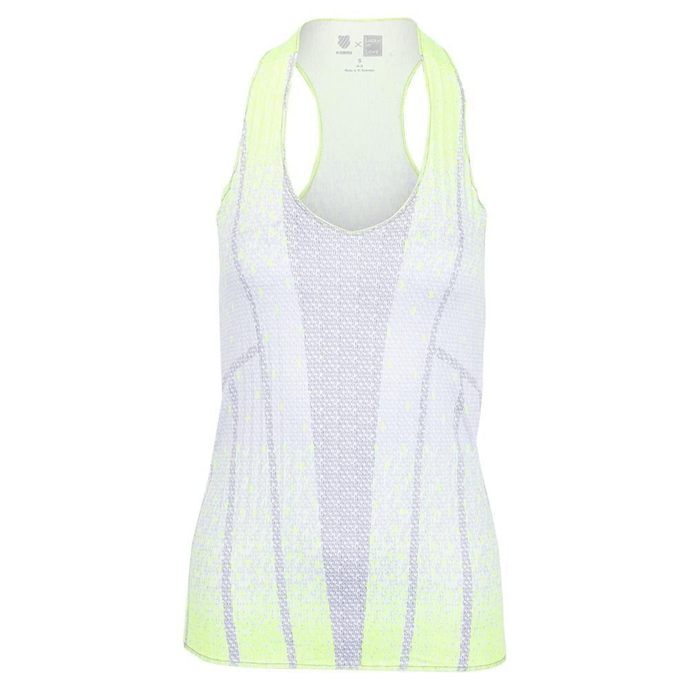 X K- Swiss Women's Pleat Don ` T Go Tennis Tank Neon Yellow