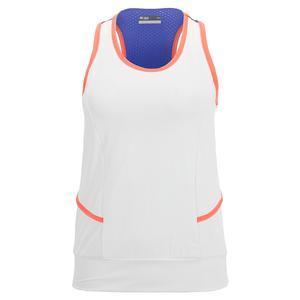 Women`s Court Tennis Tank White and Atoll Blue