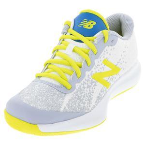 Juniors` 996v4 Tennis Shoes White and Sulphur Yellow