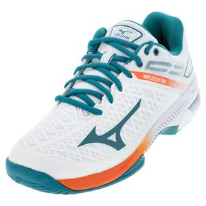 Men`s Wave Exceed Tour 4 AC Tennis Shoes White and Harbor Blue