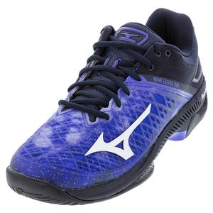 Men`s Wave Exceed Tour 4 AC Tennis Shoes Violet Blue and Indigo White