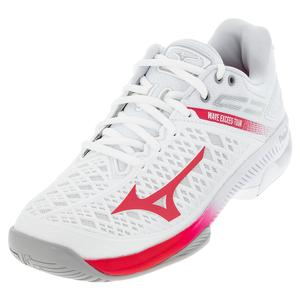 Women`s Wave Exceed Tour 4 AC Tennis Shoes White and Rose Red
