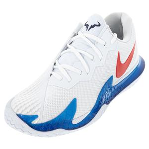 Men`s Rafa Zoom Vapor Cage 4 Tennis Shoes White and Chile Red