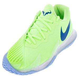 Men`s Rafa Zoom Vapor Cage 4 Tennis Shoes Lime Glow and Hyper Blue
