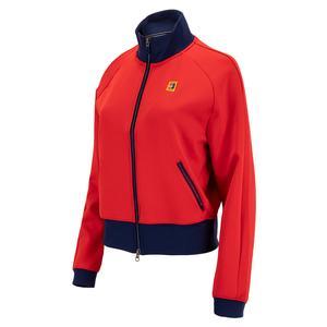 Women`s Court Full-Zip Tennis Jacket University Red and Binary Blue