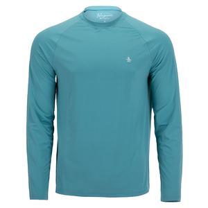 Men`s Raglan Long Sleeve Tennis Pull Over Delphinium Blue