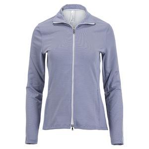 Women`s Kai Knit Tennis Jacket Misty Stripe and White