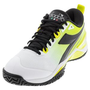 Men`s Speed Blushield 5 AG Tennis Shoes White and Lime Green